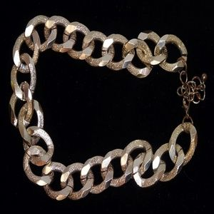 MONET CHUNKY Bold Gold Link Hammered Necklace